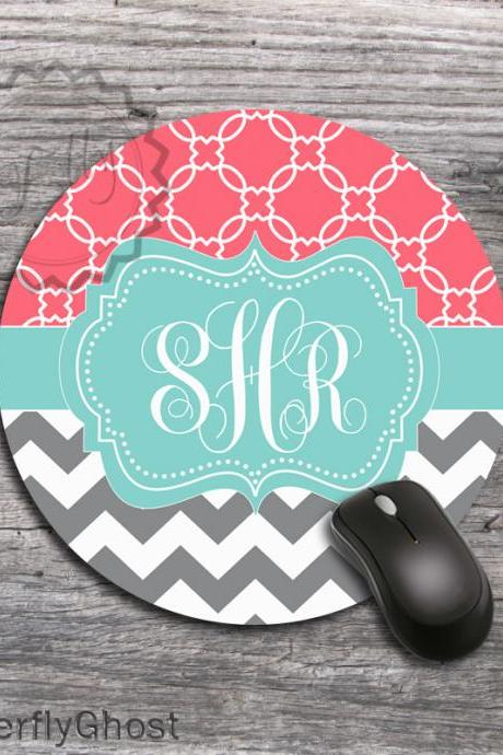 Coral and Gray Chevron Personalized Mouse Pad - Design Office Desk accessory gift