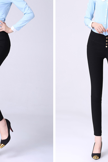 2015 new European and American style high waist leisure female big code stretch feet multicolor Leggings Pants