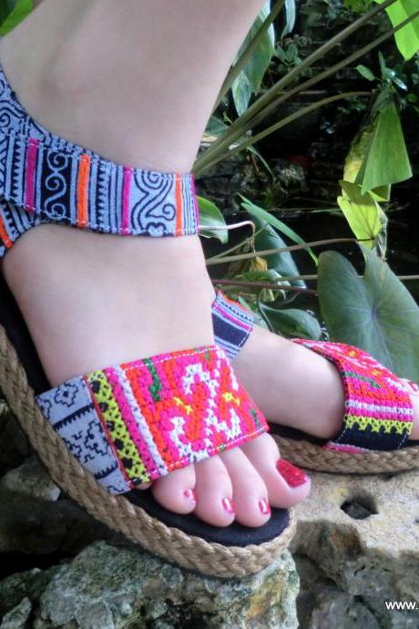 Colorful Hmong Embroidered Batik Ankle Strap Vegan Sandal