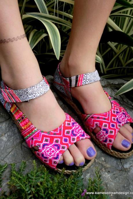 Colorful Espadrille In Hmong Embroidery With Batik Ankle Strap Open Toe Flat Vegan Shoe