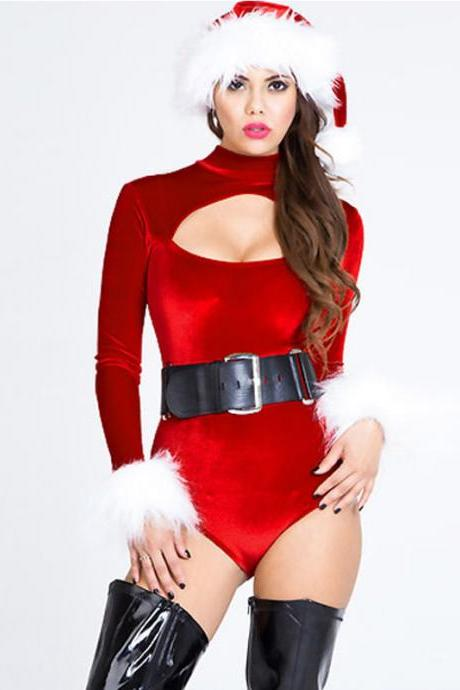 Foreplay Velvet Christmas Belle Cutout Bodysuit Holiday Costume