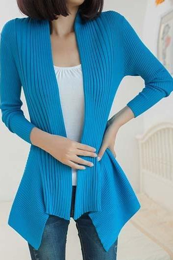 Fashion Essential Long Sleeve Cardigans for Woman - Blue