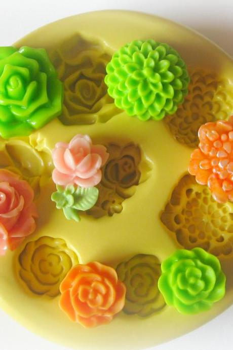 Silicone Flexible Flower Mold Fondant Clay Resin Cabochon Charm Molds