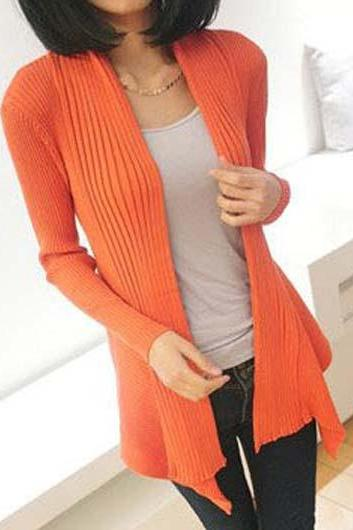 Fashion Essential Long Sleeve Cardigans for Woman - Orange