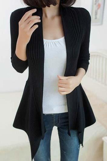 Fashion Essential Long Sleeve Cardigans for Woman - Black