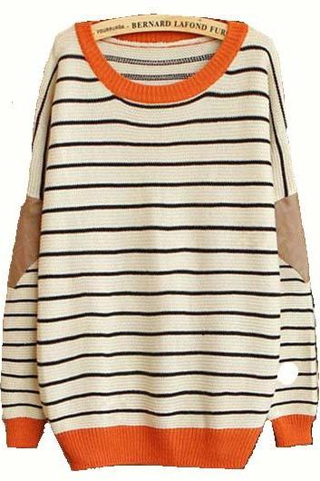 High Quality Long Sleeve Round Neck Striped Sweater - Beige