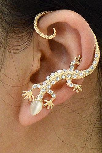 Rose Gold Lizard Ear Cuff Clip On Earring