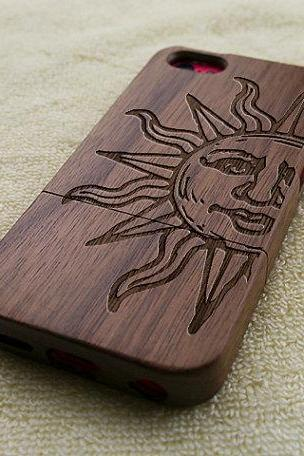 Wood iPhone case, wood iPhone 5C case, wooden iPhone 5C case, retro sun, laser engraving, real wood, wooden iPhone case