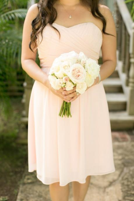 Lovely Pearl Pink Sweetheart Knee Length Bridesmaid Dress, Blush Bridesmaid Dress, Wedding Party Dress, Prom Dress