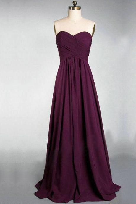 Charming Sweetheart Burgundy A-line Chiffon Bridesmaid Dress, Pretty Simple Bridesmaid Dress, Bridesmaid Dresses