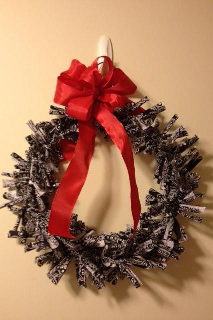 Rag Wreath, Black and White with Red Bow