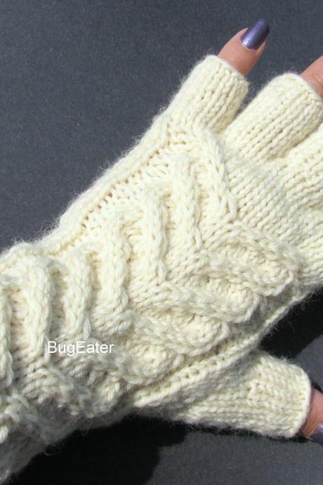 Women's fingerless gloves, Wool gloves, Cable knit gloves