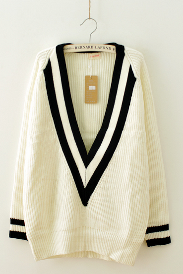 Loose V-neck long-sleeved sweater AX110907ax