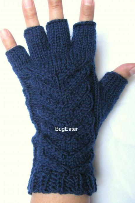 Women's fingerless gloves, Navy gloves, Cable knit gloves, Wool fingerless gloves