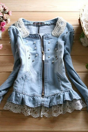 Pearl Collar Denim Jacket SF110910JL