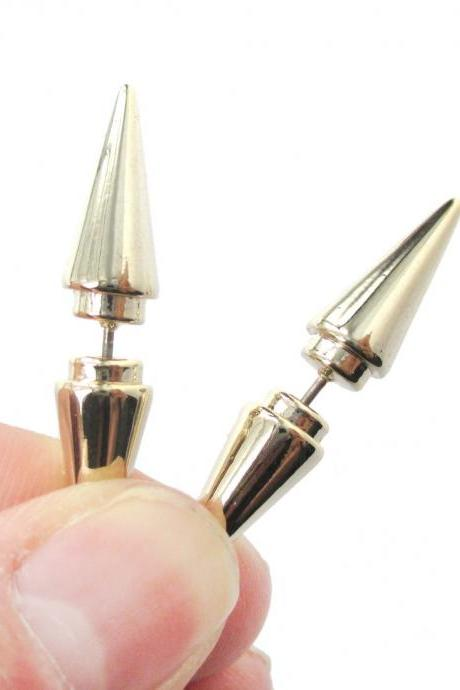 Geometric Fake Gauge Triangle Spike 3D Plug Stud Earrings Shiny Gold