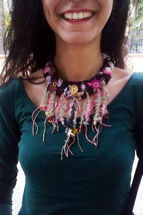 Braided black necklace, crochet flower , colorful fringe necklace