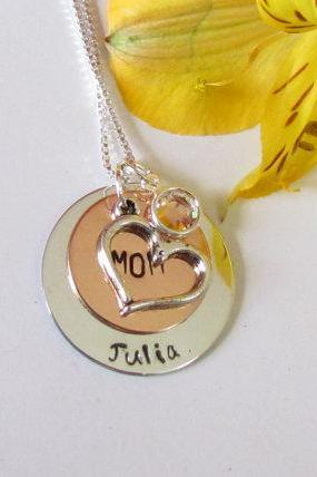 MOMS Heart Necklace - Personalized Jewelry
