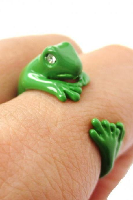 Realistic Gecko Frog Animal Wrap Around Ring in Green Sizes 4 to 9