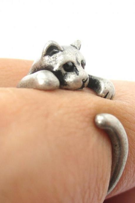 Adorable Kitty Cat Animal Pet Wrap Around Hug Ring in Brass - Size 3 to Size 8.5