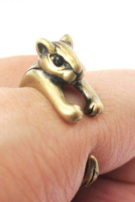 Adorable Squirrel Animal Wrap Around Ring in Brass - Size 3 to 8.5
