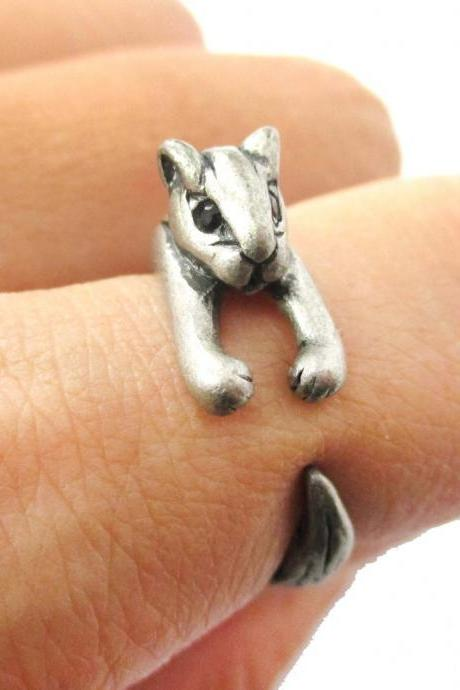 Adorable Squirrel Animal Wrap Around Ring in Silver - Size 3 to 8.5