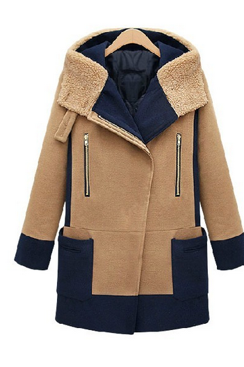 Winter in Europe and America wool tweed coat splicing hit color coat large size women