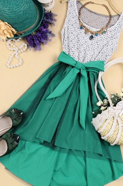 Elegant High-Low Hemline Bowknot Sleeveless Lace Spliced Dress - Green