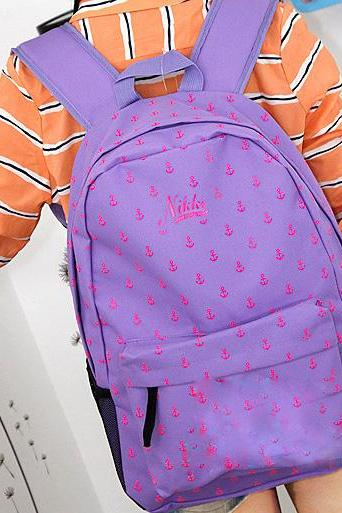 Latest Fashion Navy Style Anchor Print Backpack - Light Purple