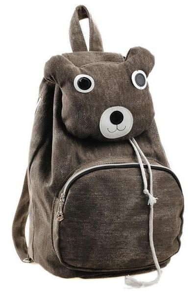Lovely Cute Cartoon Bear Leisure Canvas Backpack - Brown