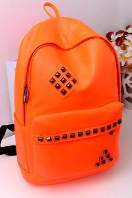 Punk Style Rivet Fluorescent Color Backpack - Orange