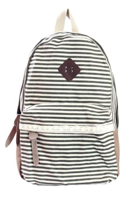 Retro Strip Print Lace Canvas Backpack - Green