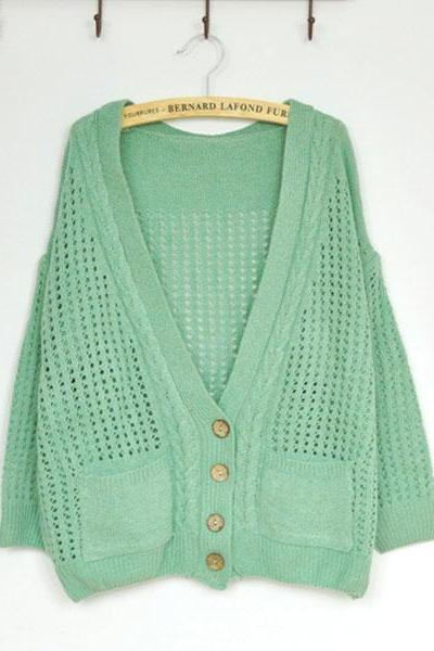 Unique Fresh Floral Crochet Cardigan - Green