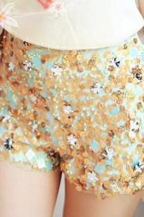 Beaded Flower Sequined Chiffon Shorts AECGB