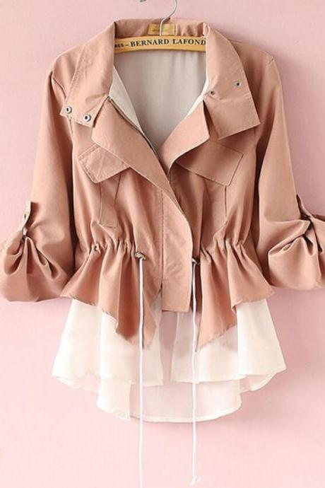 Chiffon Stitching Long-sleeved Coat