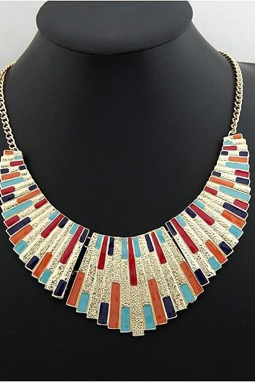 Beautiful Multi Colored Aztec Statement Necklace