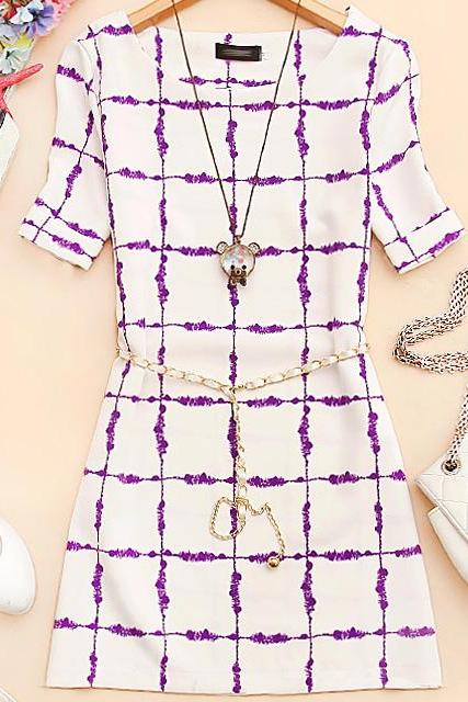 Geometric Patterns Short-sleeved Dress AECAD