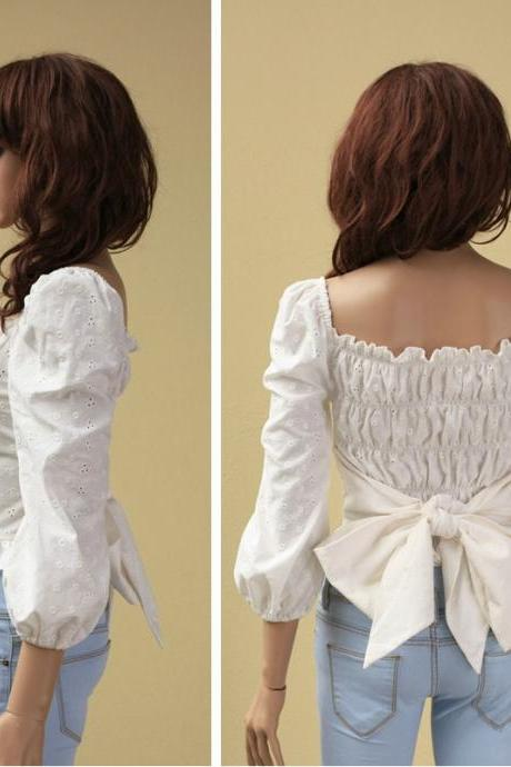 Hollow Bow Shirt AECABB