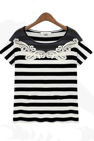 Lace Striped T-shirt AX8