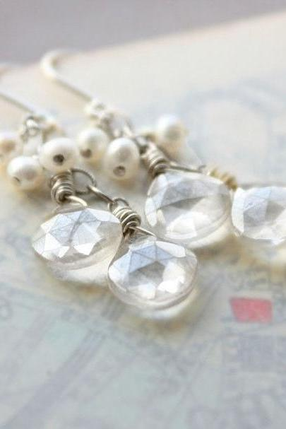 Freshwater pearl gemstone earrings, wedding bridal earrings sterling silver