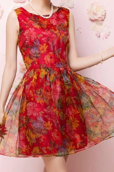Organza Print Dress WQ724DC