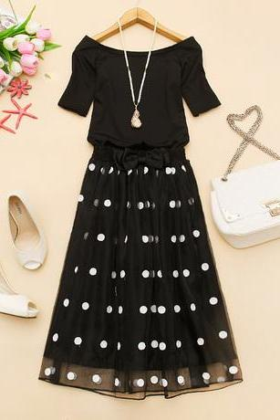 Polka Dot Skirt And T-shirt Two-piece Suit AXa