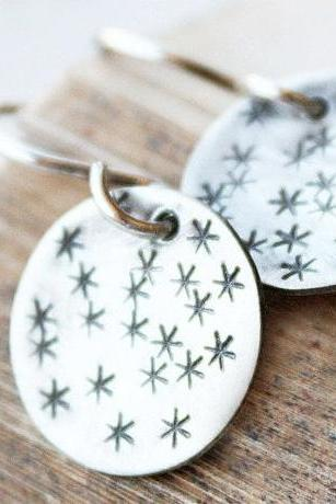 sterling silver star earrings, stamped stars, round discs, sky
