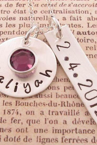 Birthdate charm necklace: new mom gift personalized stamped jewelry