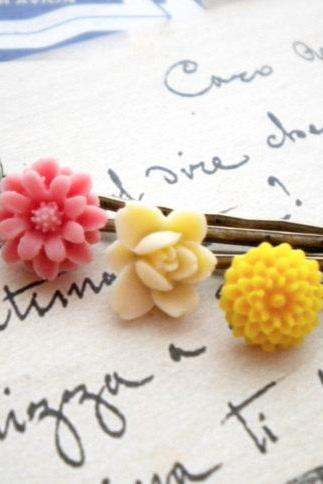 Bobby Pin Flowers - Flower Cabochon Bobby Pin - Colorful Bobby Pin