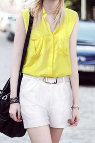 Fashion Sleeveless Collar Shirt + Low-waist Harem Pants Two-pieces Suit MOc