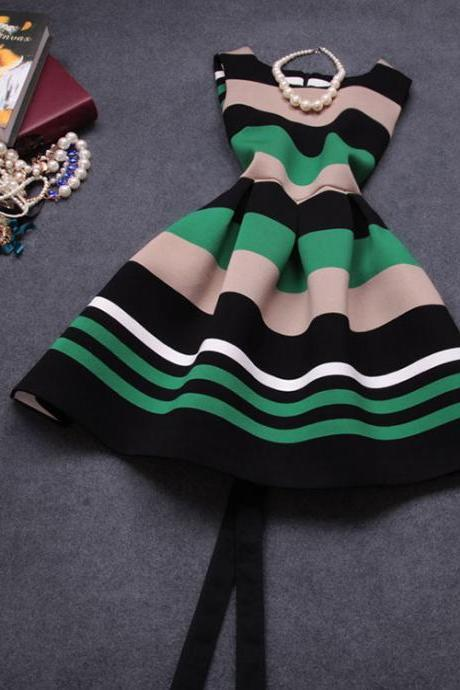 Fashion Striped Stitching Dress BB918FI