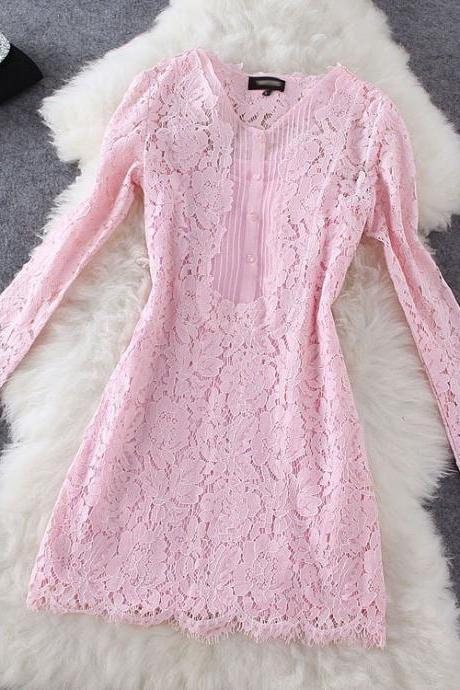 Fashion Style Lace Long-sleeved Dress ( Two-piece ) AW915E