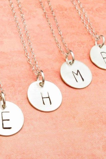 Initial necklace . personalized necklace charm necklace . silver initial charm . custom necklace . engraved necklace
