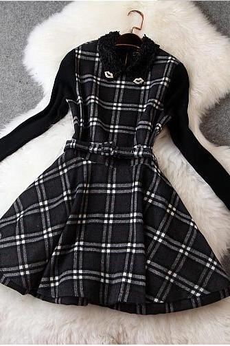 Slim Long-sleeved Plaid Dress